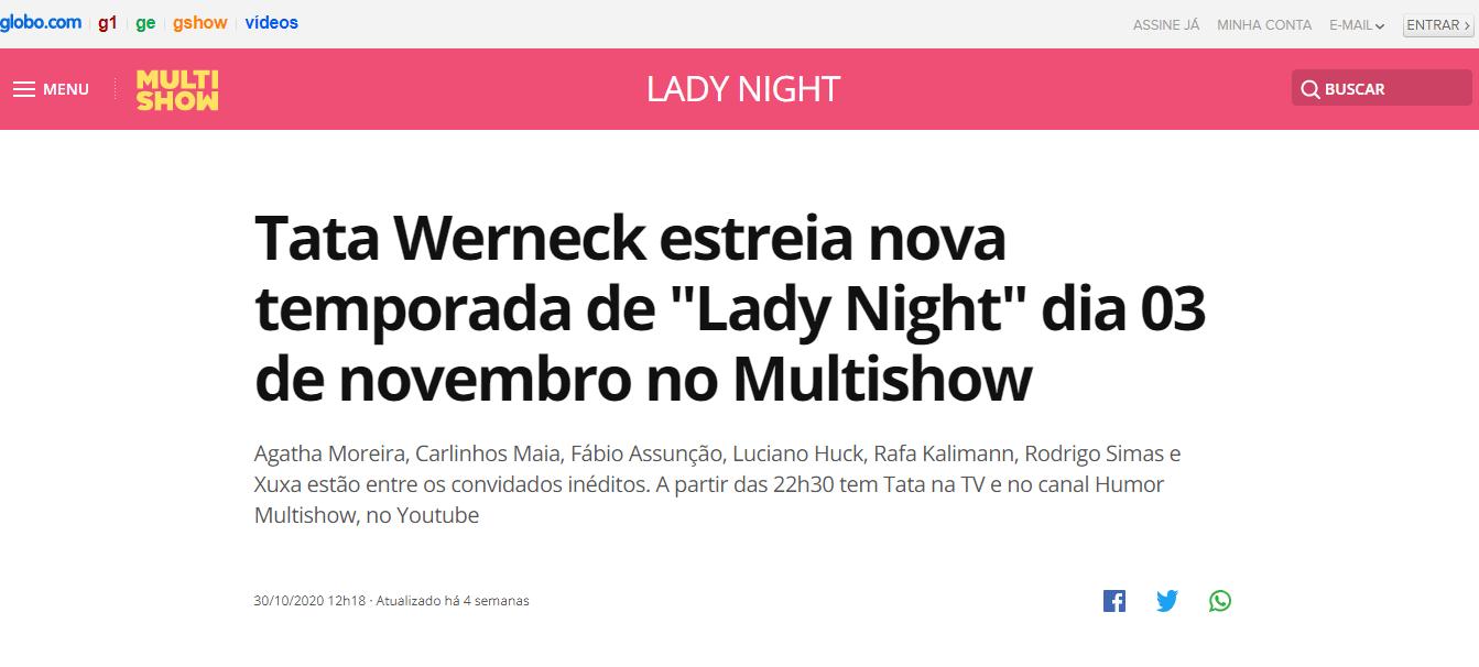 Inscrição Plateia Lady Night 2021