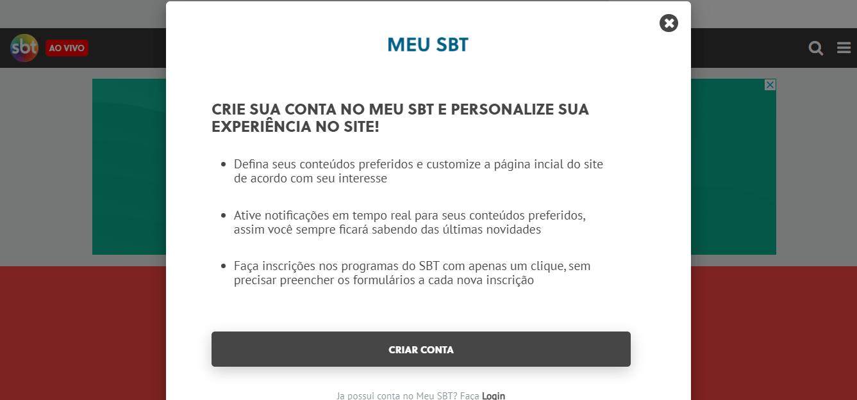 Site Oficial SBT Criar Conta