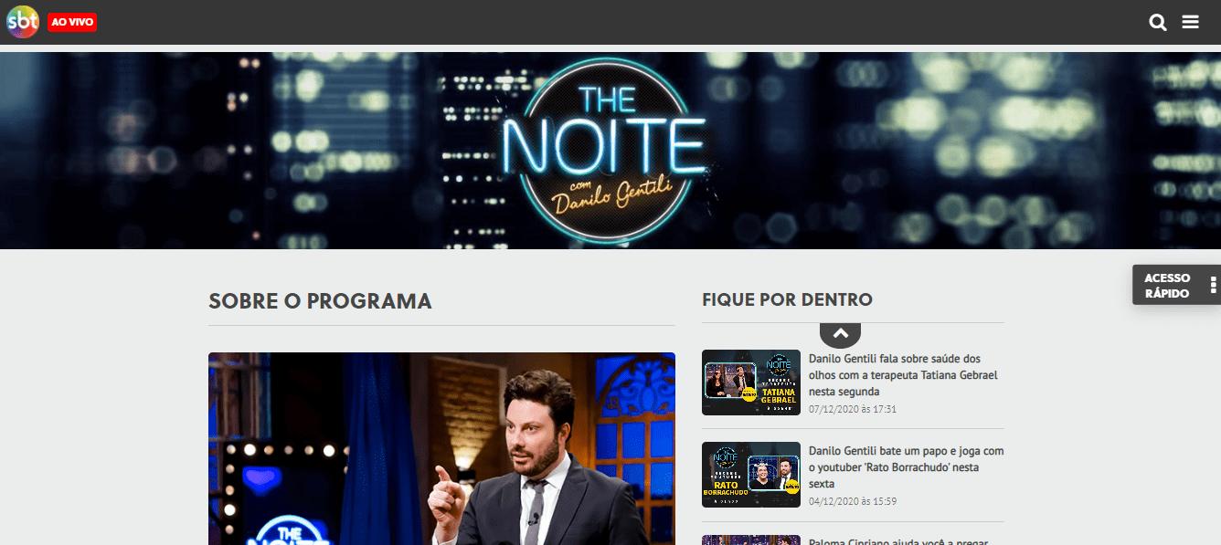 Site Oficial do Programa The Noite