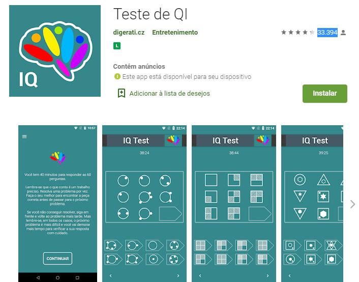 Aplicativo Teste de QI